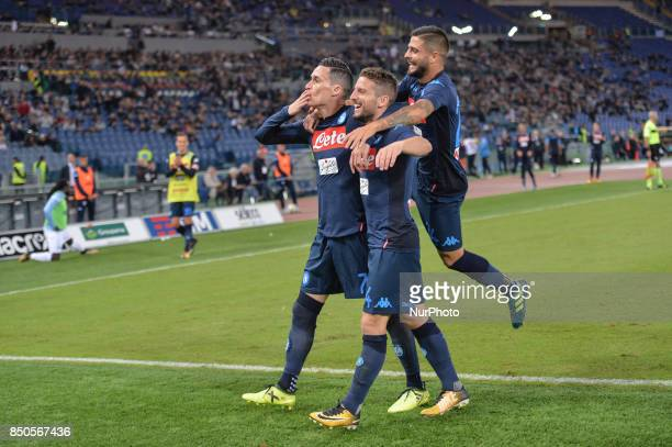Jose Maria Callejon celebrates with Dries Mertens and Lorenzo Insigne after scoring a goal during the Italian Serie A football match SS Lazio vs SSC...