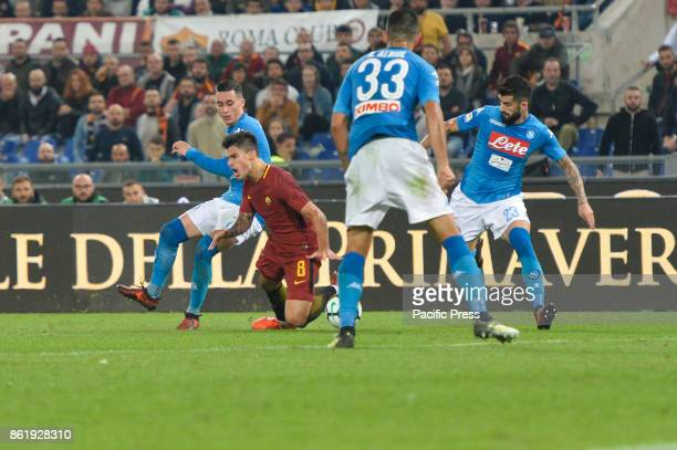 Jose Maria Callejon Diego Perotti during the Italian Serie A football match between AS Roma and SSC Napoli at the Olympic Stadium in Rome on october...