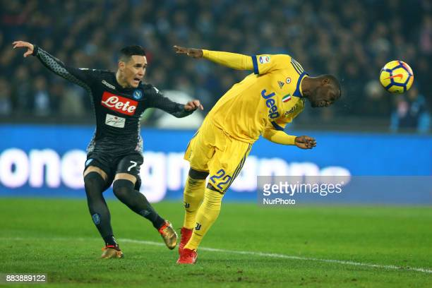 Jose Maria Callejon of Napoli and Kwadwo Asamoah of Juventus during the Serie A match between SSC Napoli and Juventus at Stadio San Paolo on December...