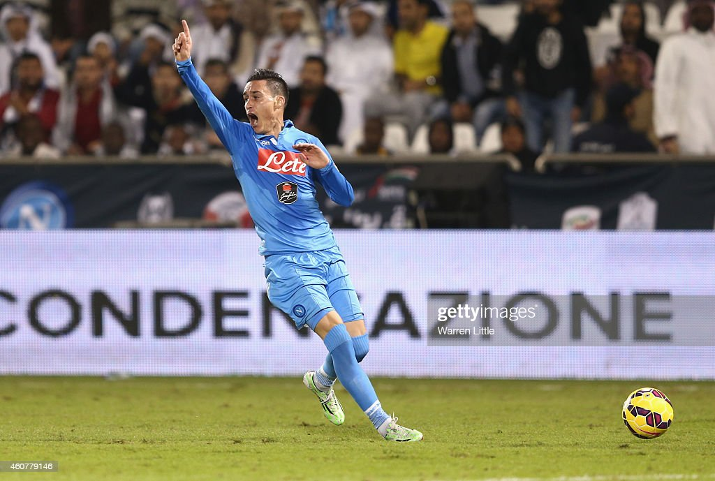 Jose Maria Callejon of Napoli appeals to the line judge for an off side ruling during the 2014 Italian Super Cup match between Juventus FC v SSC...