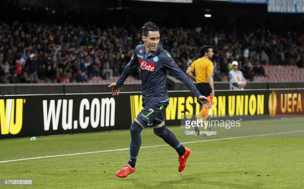 Jose Maria Callejon of Napoli celebrates after scoring goal 10 during the UEFA Europa League quarterfinal second leg match between SSC Napoli and VfL...
