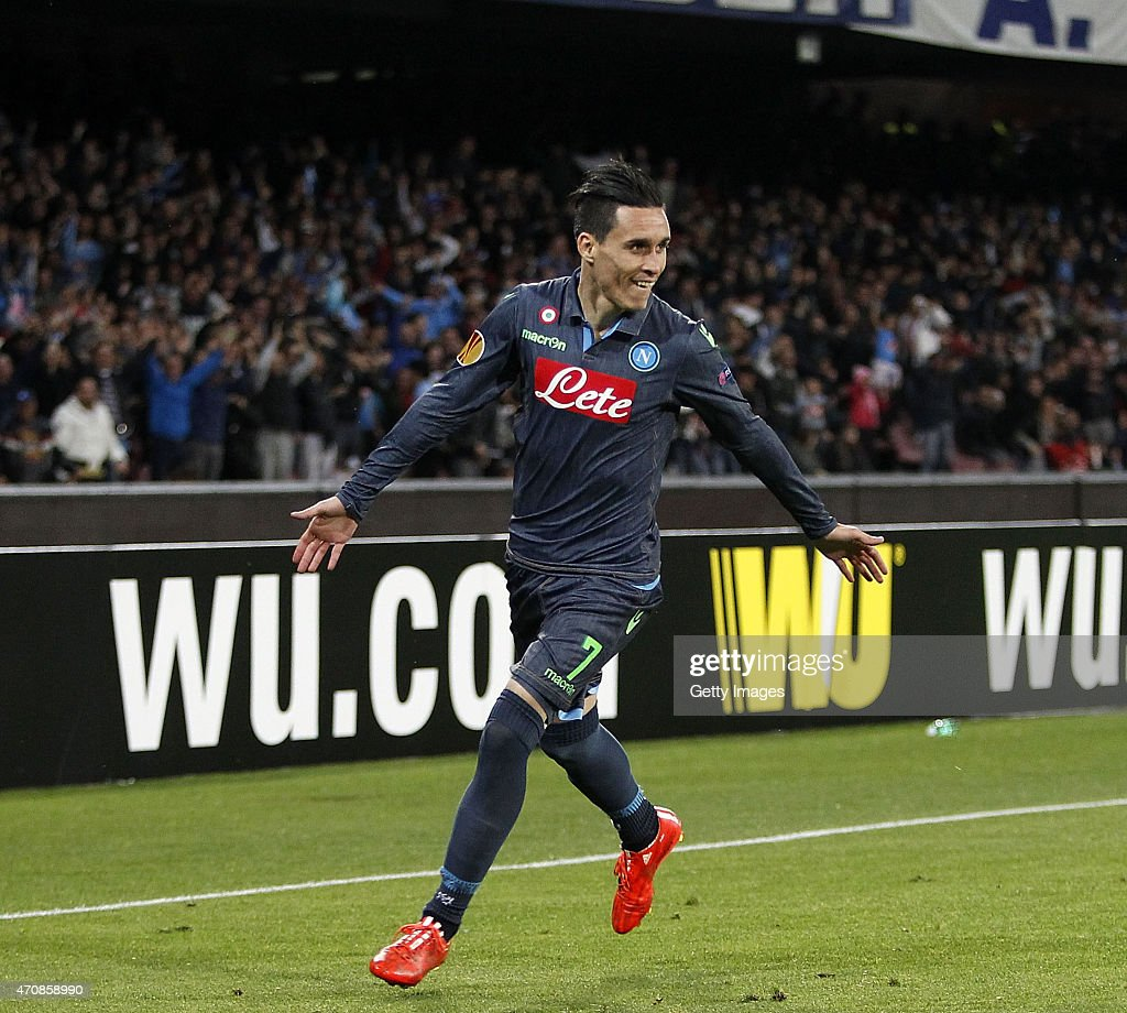 <a gi-track='captionPersonalityLinkClicked' href=/galleries/search?phrase=Jose+Maria+Callejon&family=editorial&specificpeople=6671079 ng-click='$event.stopPropagation()'>Jose Maria Callejon</a> of Napoli celebrates after scoring goal 1-0 during the UEFA Europa League quarter-final second leg match between SSC Napoli and VfL Wolfsburg on April 23, 2015 in Naples, Italy.