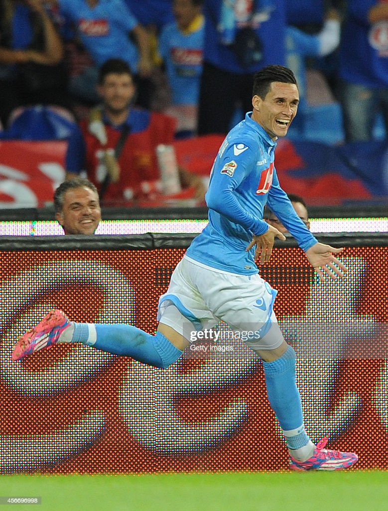 Jose maria callejon of Napoli celebrates after scoring goal 2-1 during the Serie A match between SSC Napoli and Torino at San Paolo Stadium on October 5 , 2014 in Naples, Italy.