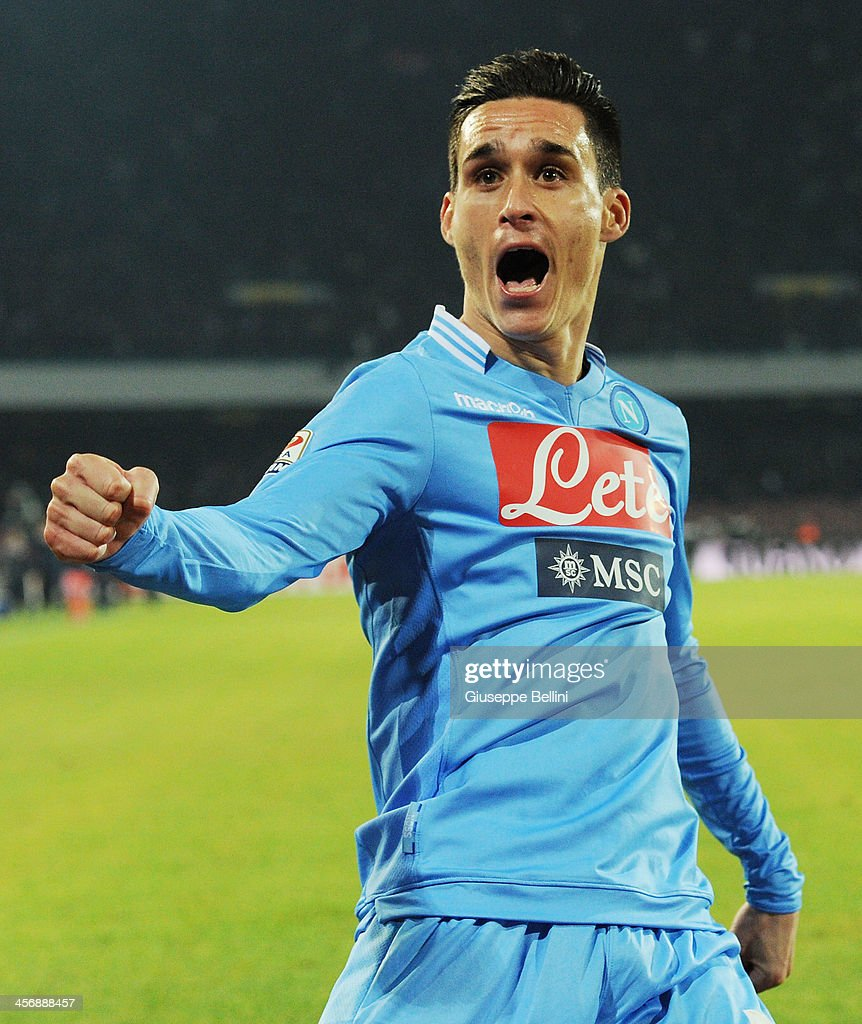 <a gi-track='captionPersonalityLinkClicked' href=/galleries/search?phrase=Jose+Maria+Callejon&family=editorial&specificpeople=6671079 ng-click='$event.stopPropagation()'>Jose Maria Callejon</a> of Napoli celebrates after scoring his team's fourth goal during the Serie A match between SSC Napoli vs FC Internazionale Milano at Stadio San Paolo on December 15, 2013 in Naples, Italy.