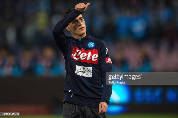 Jose Maria Callejon of Napoli greets supporter during warm up prior the Serie A match between SSC Napoli and Juventus at Stadio San Paolo on December...