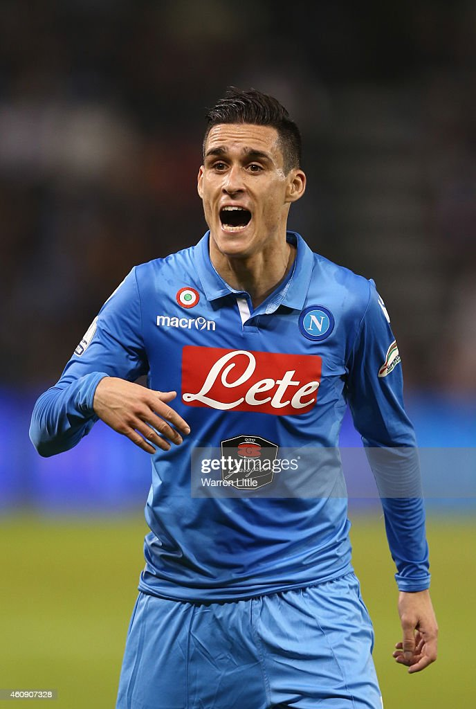 Jose Maria Callejon of Napoli in action during the 2014 Italian Super Cup match between Juventus FC v SSC Napoli at the Jassim Bin Hamad Stadium on...