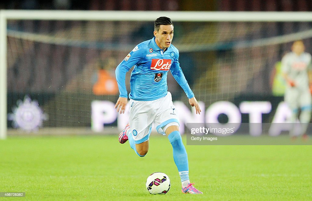 Jose Maria Callejon of Napoli in action during the Serie A match between SSC Napoli and Torino at Stadio San Paolo on October 5 2014 in Naples Italy