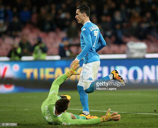 Jose Maria Callejon of Napoli scores his team's third goal during the Serie A match between SSC Napoli and AC Chievo Verona at Stadio San Paolo on...