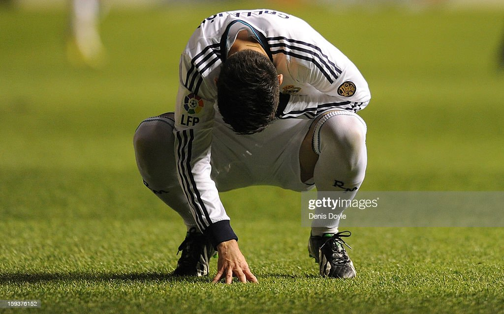 Jose Maria Callejon of Real Madrid reacts during the La Liga match between Osasuna and Real Madrid at estadio Reino de Navarra on January 12, 2013 in Pamplona, Spain.