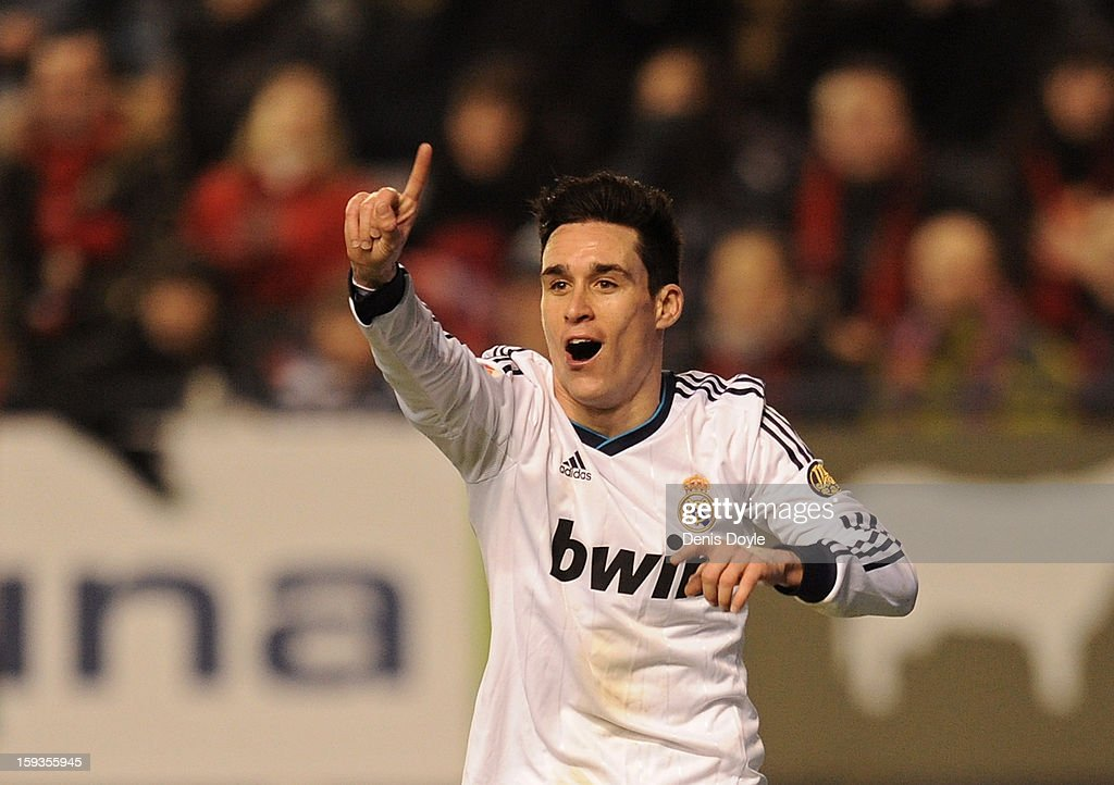 Jose Maria Callejon of Real Madrid signals to the linesman after he was called offside during the La Liga match between Osasuna and Real Madrid at estadio Reino de Navarra on January 12, 2013 in Pamplona, Spain.