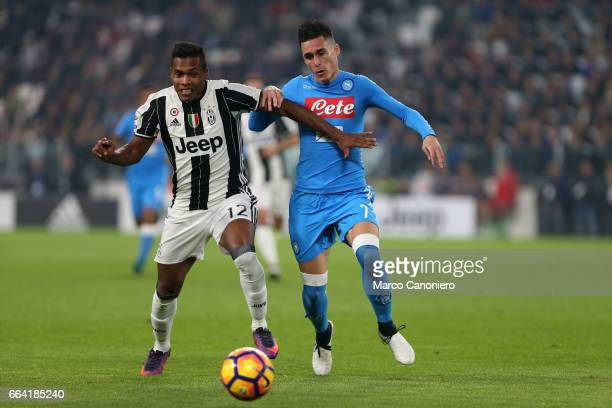 Jose Maria Callejon of SSC Napoli and Alex Sandro of Juventus battle for the ball during the Serie A match between Juventus FC and SSC Napoli...