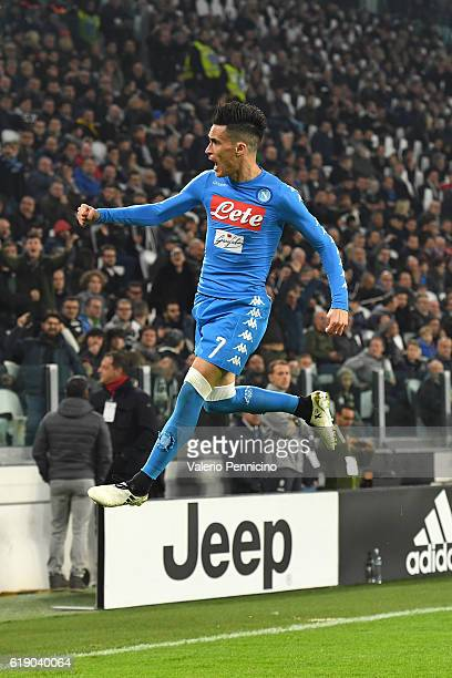 Jose Maria Callejon of SSC Napoli celebrates a goal during the Serie A match between Juventus FC and SSC Napoli at Juventus Stadium on October 29...