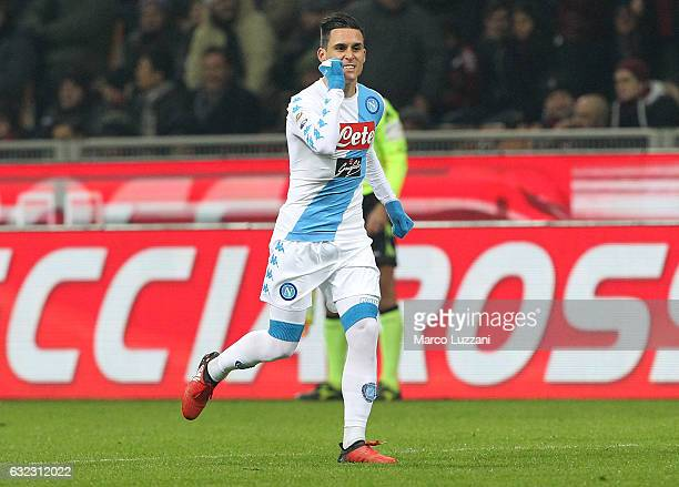 Jose Maria Callejon of SSC Napoli celebrates his goal during the Serie A match between AC Milan and SSC Napoli at Stadio Giuseppe Meazza on January...