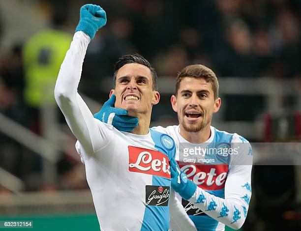 Jose Maria Callejon of SSC Napoli celebrates his goal with his teammate Jorge Luiz Frello Jorginho during the Serie A match between AC Milan and SSC...