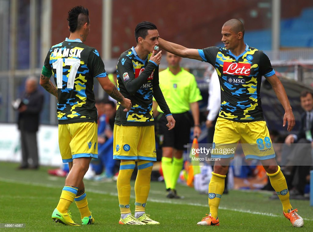 Jose Maria Callejon of SSC Napoli celebrates his goal with his teammates Marek Hamsik and Gokhan Inler during the Serie A match between UC Sampdoria...