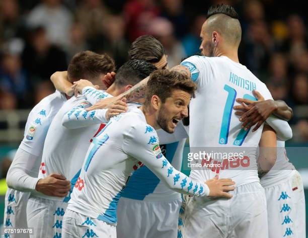 Jose Maria Callejon of SSC Napoli celebrates with his teammates after scoring the opening goal during the Serie A match between FC Internazionale and...