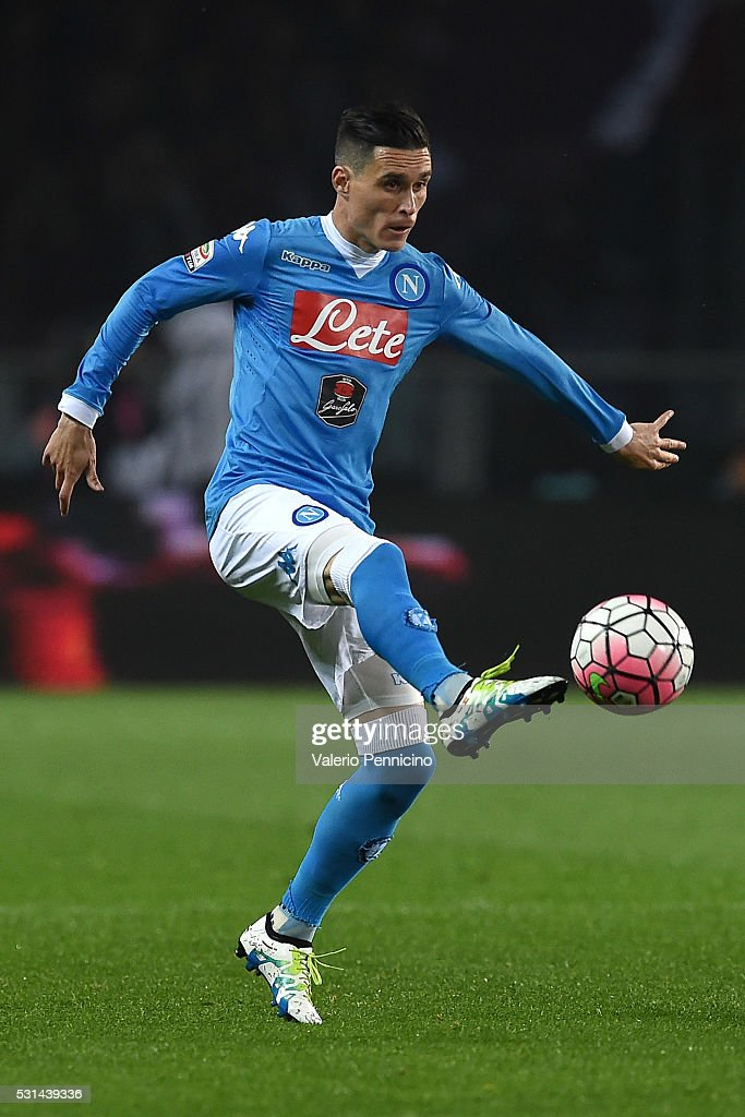 Jose Maria Callejon of SSC Napoli controls the ball during the Serie A match between Torino FC and SSC Napoli at Stadio Olimpico di Torino on May 8...