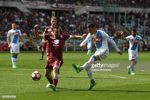 Jose Maria Callejon of SSC Napoli in action against Davide Zappacosta of FC Torino during the Serie A match between FC Torino and SSC Napoli at...