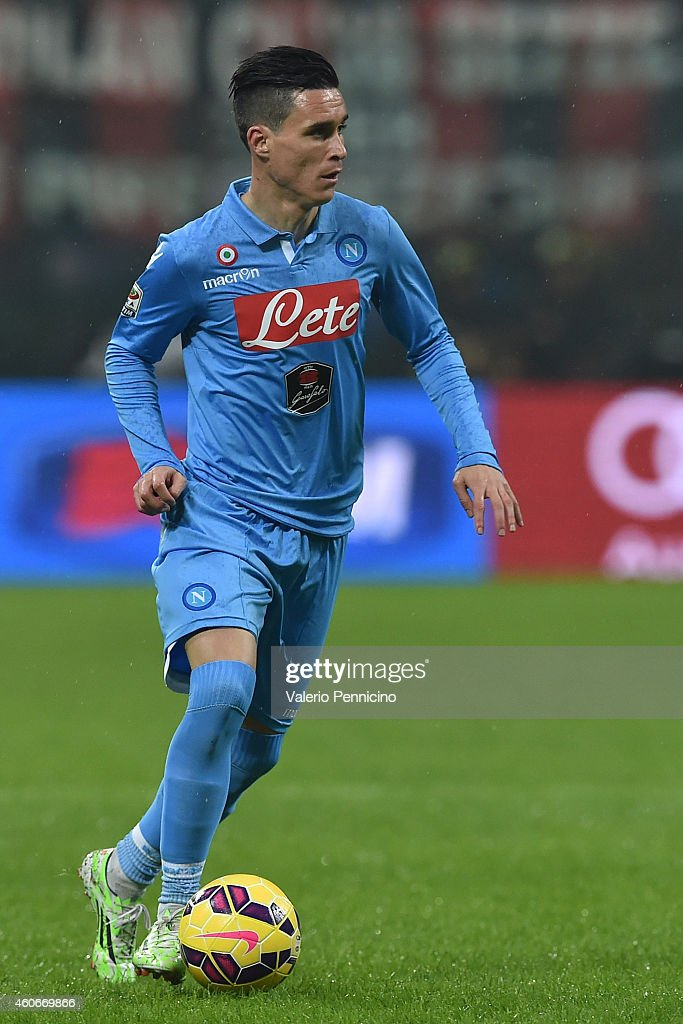 Jose Maria Callejon of SSC Napoli in action during the Serie A match between AC Milan and SSC Napoli at Stadio Giuseppe Meazza on December 14 2014 in...