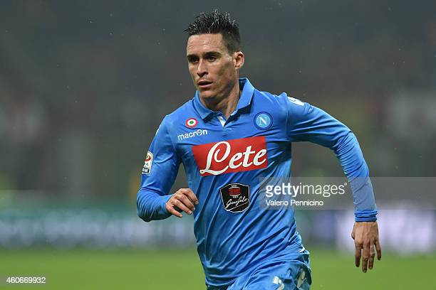 Jose Maria Callejon of SSC Napoli looks on during the Serie A match between AC Milan and SSC Napoli at Stadio Giuseppe Meazza on December 14 2014 in...