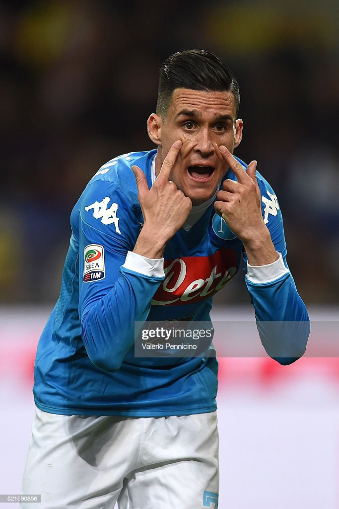 <a gi-track='captionPersonalityLinkClicked' href=/galleries/search?phrase=Jose+Maria+Callejon&family=editorial&specificpeople=6671079 ng-click='$event.stopPropagation()'>Jose Maria Callejon</a> of SSC Napoli reacts during the Serie A match between FC Internazionale Milano and SSC Napoli at Stadio Giuseppe Meazza on April 16, 2016 in Milan, Italy.