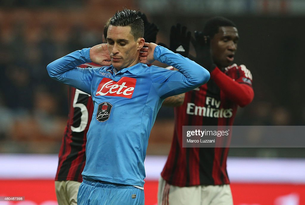 <a gi-track='captionPersonalityLinkClicked' href=/galleries/search?phrase=Jose+Maria+Callejon&family=editorial&specificpeople=6671079 ng-click='$event.stopPropagation()'>Jose Maria Callejon</a> of SSC Napoli reacts to a missed chance during the Serie A match between AC Milan and SSC Napoli at Stadio Giuseppe Meazza on December 14, 2014 in Milan, Italy.