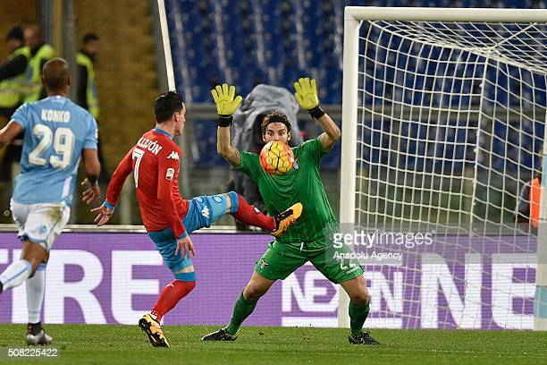 Jose' Maria Callejon of SSC Napoli scores a goal during the Serie A match between SS Lazio and SSC Napoli at Stadio Olimpico on February 3 2016 in...