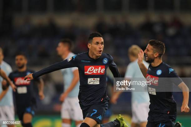 Jose' Maria Callejon with Dries Mertens of SSC Napoli celebrates after scoring the team's second goal during the Serie A match between SS Lazio and...