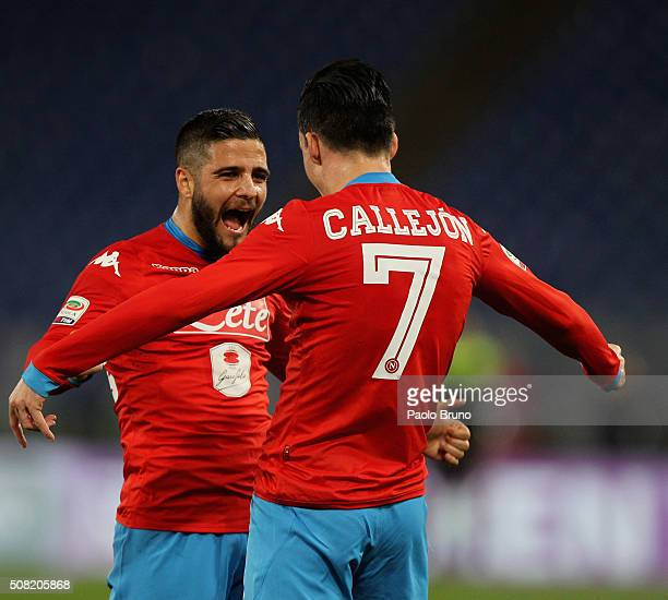 Jose' Maria Callejon with his teammate Lorenzo Insigne of SSC Napoli celebrates after scoring the team's second goal during the Serie A match between...