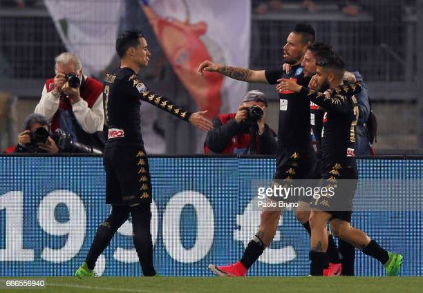 Jose' Maria Callejon with his teammates of SSC Napoli celebrates after scoring the opening goal during the Serie A match between SS Lazio and SSC...