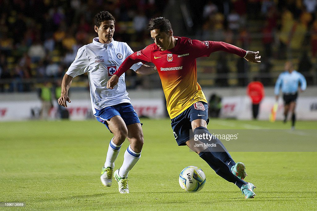 Jose Maria Cardenas (R) of Morelia struggles for the ball with Alejandro Vela (L) of Cruz Azul during a match as part of the Clausura 2013 Liga MX at Morelos Stadium on january 04, 2013 in Morelia, Mexico.