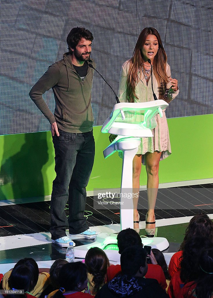 Jose Maria de Tavira and Grettell Valdez speak onstage at the Kids Choice Awards Mexico 2012 at Pepsi Center WTC on September 1, 2012 in Mexico City, Mexico.