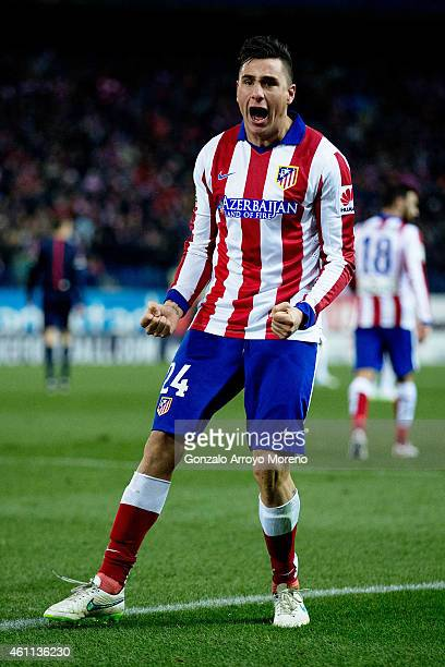 Jose Maria Gimenez of Atletico de Madrid celebrates scoring their second goal during the Copa del Rey Round of 16 first leg match between Club...