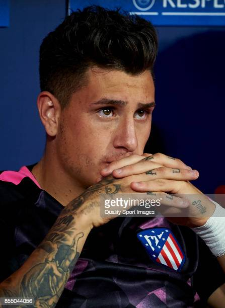 Jose Maria Gimenez of Atletico Madrid looks on prior the UEFA Champions League group C match between Atletico Madrid and Chelsea FC at Wanda...