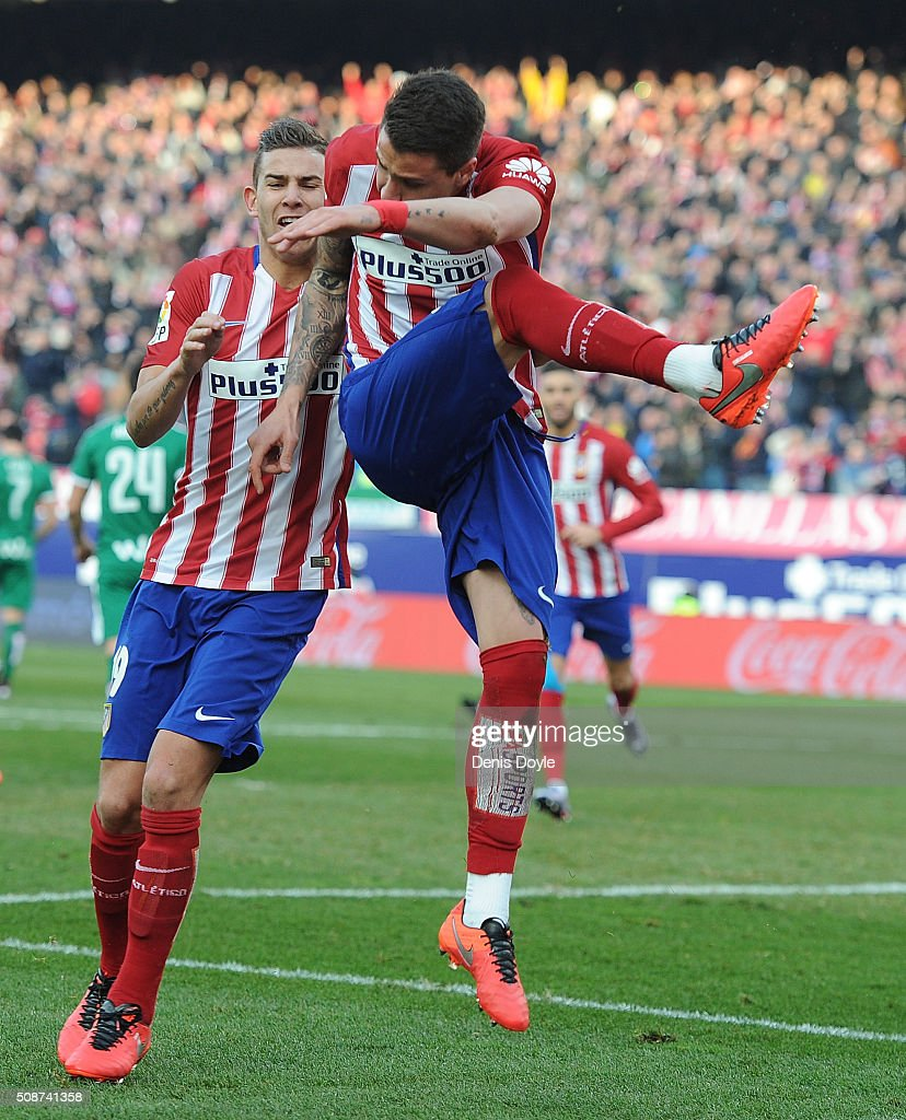 Jose Maria Gimenez of Club Atletico de Madrid celebrates after scoring his team's opening goal during the La Liga match between Club Atletico de Madrid and SD Eibar at Vicente Calderon Stadium on February 6, 2016 in Madrid, Spain.