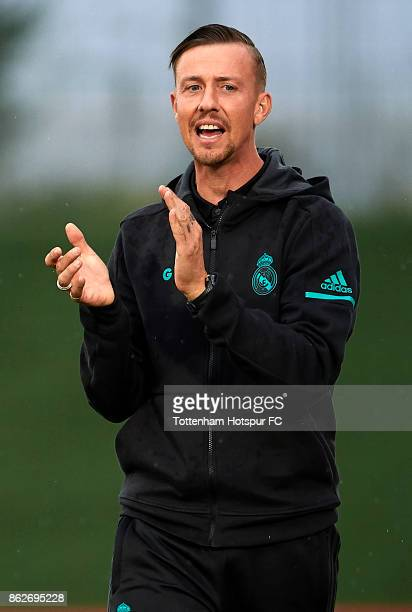 Jose Maria Gutierrez Guti Manager of Real Madrid reacts during the UEFA Youth Champions League group H match between Real Madrid and Tottenham...