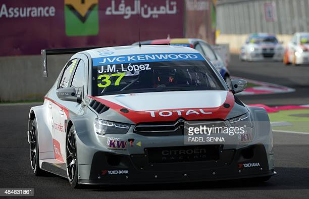 Jose Maria Lopez in his Citroen CElysee competes during the Marrakech WTCC Fia World Touring Car championship race on April 13 in Marrakesh AFP PHOTO...
