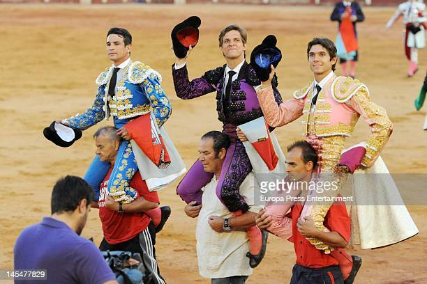Jose Maria Manzanares Julian Lopez 'El Juli' and Sebastian Castella during a bullfighting on May 30 2012 in Aranjuez Spain