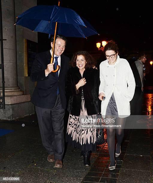 Jose Maria Michavila Ana Botella and Irene Michavila are seen leaving opera 'Tristan and Isolde' by Richard Warner on January 12 2014 in Madrid Spain