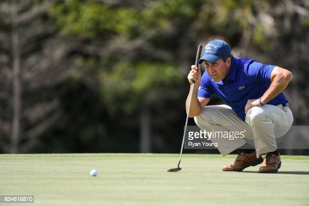 Jose Maria Olazabal lines up a putt on the eighth green during the first round of the PGA TOUR Champions Allianz Championship at The Old Course at...