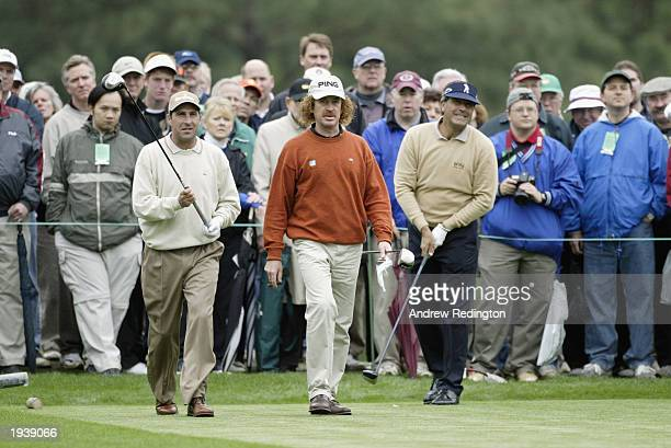 Jose Maria Olazabal Miguel Angel Jimenez and Seve Ballesteros of Spain on the tenth tee during the third practice day for the 2003 Masters Tournament...
