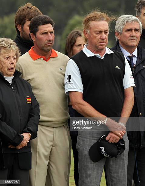 Jose Maria Olazabal of Spain and Miguel Angel Jimenez of Spain during the minute silence held in memory of Seve Ballesteros during the third round of...