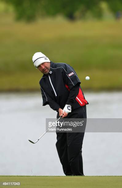 Jose Maria Olazabal of Spain chipping at the 18th green during the Nordea Masters ProAm day at the PGA Sweden National on May 28 2014 in Malmo Sweden