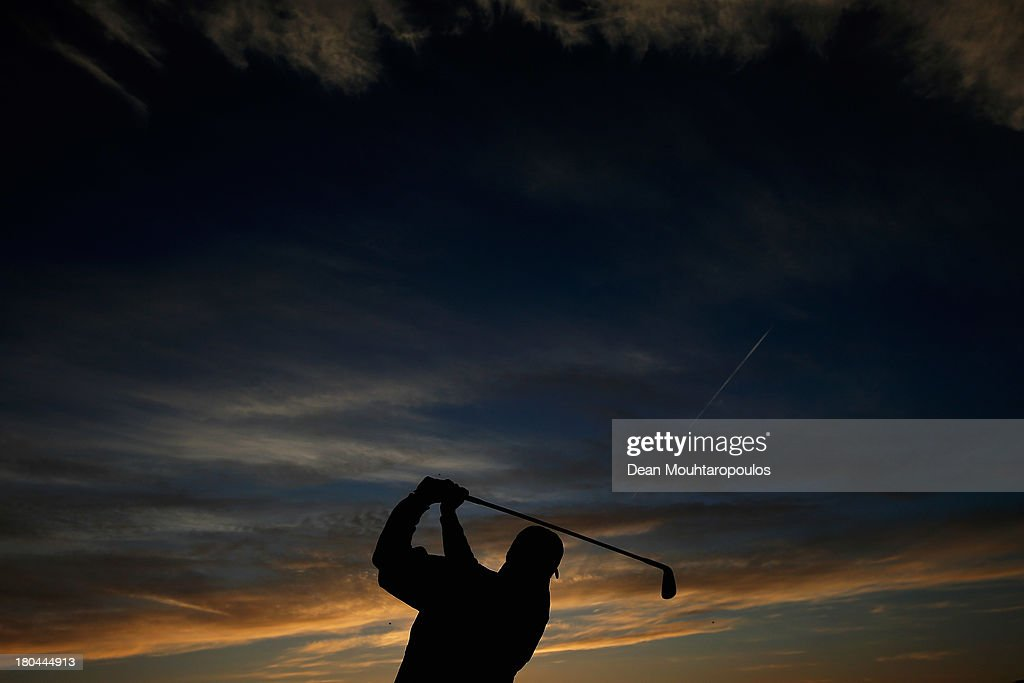 Jose Maria Olazabal of Spain hits his practice shot on the driving range prior Day 2 of the KLM Open at Kennemer G & CC on September 13, 2013 in Zandvoort, Netherlands.
