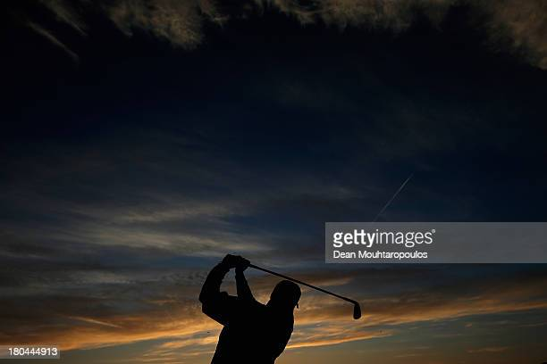 Jose Maria Olazabal of Spain hits his practice shot on the driving range prior Day 2 of the KLM Open at Kennemer G CC on September 13 2013 in...