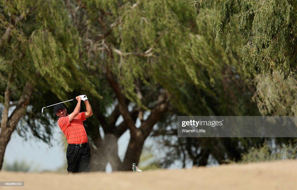 Jose Maria Olazabal of Spain in action during the pro-am of the Omega Dubai Desert Classic at Emirates Golf Club on January 30, 2013 in Dubai, United Arab Emirates.