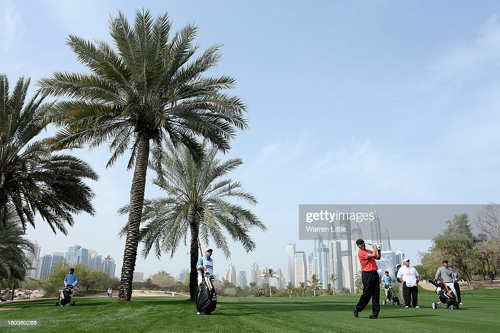 Jose Maria Olazabal of Spain plays his second shot during the pro-am of the Omega Dubai Desert Classic at Emirates Golf Club on January 30, 2013 in Dubai, United Arab Emirates.