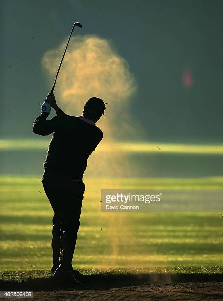 Jose Maria Olazabal of Spain plays his third shot on the par 5 10th hole during the second round of the 2015 Omega Dubai Desert Classic on the Majlis...