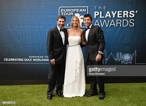 Jose Maria Olazabal of Spain poses with Pablo Larrazabal of Spain and Gala Ortin as they attend the European Tour Players' Awards ahead of the BMW...