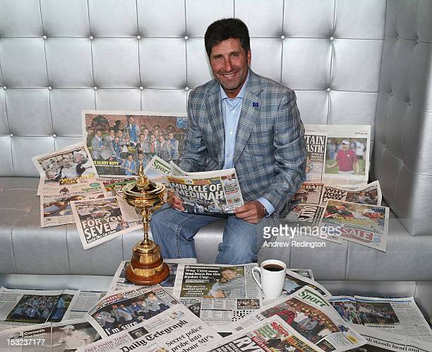 Jose Maria Olazabal the winning captain poses for a photograph as reads the newspapers and has a cup of coffee prior to The European Ryder Cup Press...